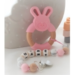Personalised Silicone & Wooden Tetther Bunny / Personalised Dummy Clip - PINK