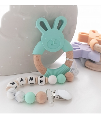 Personalised Silicone & Wooden Tetther Bunny / Personalised Dummy Clip - MINT