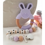 Personalised Silicone & Wooden Tetther Bunny / Personalised Dummy Clip - LILAC