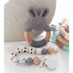 Personalised Silicone & Wooden Tetther Bunny / Personalised Dummy Clip - GREY