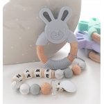 Personalised Silicone & Wooden Tetther Bunny / Personalised Dummy Clip - LIGHT GREY