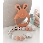 Personalised Silicone & Wooden Tetther Bunny / Personalised Dummy Clip - ORANGE