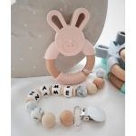 Personalised Silicone & Wooden Tetther Bunny / Personalised Dummy Clip - PEACH