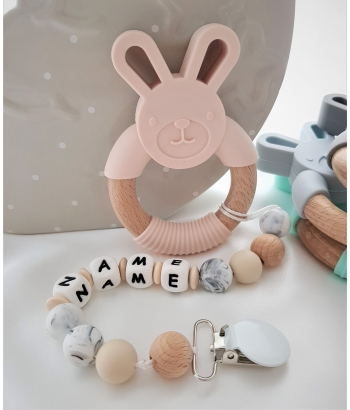 Personalised Silicone & Wooden Tetther Bunny / Personalised Dummy Clip - IVORY