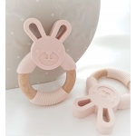 Silicone Diffuser Teether Ring / Bunny Silicone & Wood Teether - PEACH