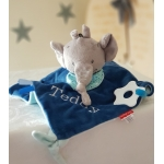 Personalised Elephant Baby Comfort Blankie / Teether Blankie / Soother Blanket / Tags Blanket