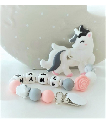 Personalised Unicorn Silicone Teether Baby Holder