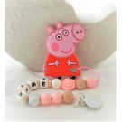 Personalised PEPPA PIG Silicone Teether . Baby Holder . Baby Pacifier . Dummy Clip Holder