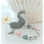 Personalised Gray Swan Silicone Teether