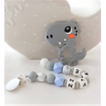 Personalised Silicone Baby Teether Grey Dino
