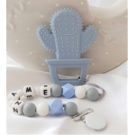 Personalised Baby Silicone Teether Cactus Grey