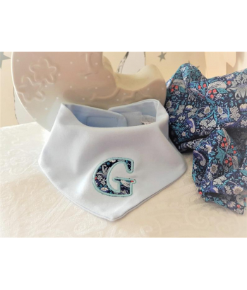 Liberty of London Bib. Personalised Baby Bandana Bib .Monogrammed Bibs. Aplique Blue Bib