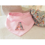 Liberty of London Bib. Personalised Baby Bandana Bib .Monogrammed Bibs. Aplique Pink Bib