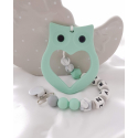 Personalised Silicone  Tetther Mint Owl / Personalised Dummy Clip