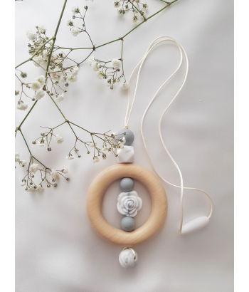 Silicone and Wood teething beads necklace baby sensory jewellery teether. Mum necklace . Baby Teether. Rose teether