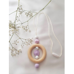 Silicone and Wood teething beads necklace baby sensory jewellery teether. Mum necklace . Baby Teether. Lavender Rose teether
