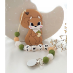 Personalised Teether - Baby Teether Squirrel - Silicone Teether - Brown