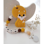 Personalised Teether - Baby Teether Squirrel - Silicone Teether- Mustard