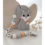 Personalised Teether - Baby Teether Squirrel - Silicone Teether - Grey