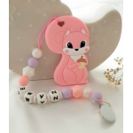 Personalised Teether - Baby Teether Squirrel - Silicone Teether - Pink