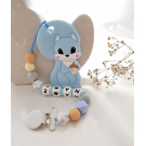 Personalised Teether - Baby Teether Squirrel - Silicone Teether - Blue