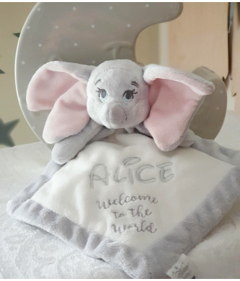 Personalised Dumbo Elephant Baby Comforter / Baby Blanket / First Toy