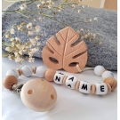 Personalised Wooden Teether Leaf ,Silicone baby Safe dummy Clips , Baby Sensory Chew Toy ,Organic Baby Teether , Baby gift
