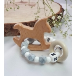 Personalised Teether Ring /Rattle /Silicone teether/Baby Shower Gift / Wooden Teether / Rocking Horse