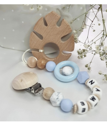 Personalised Wooden Teether Leaf ,Silicone baby Safe dummy Clips , Baby Teether, teether, Sensory Chew Toy